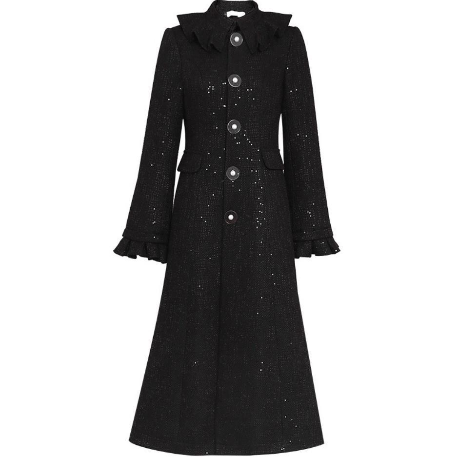 Малый марочные аромат тонкий однобортный твидовый черный длинный шерстяное пальто осень зима плюс размер 2XL