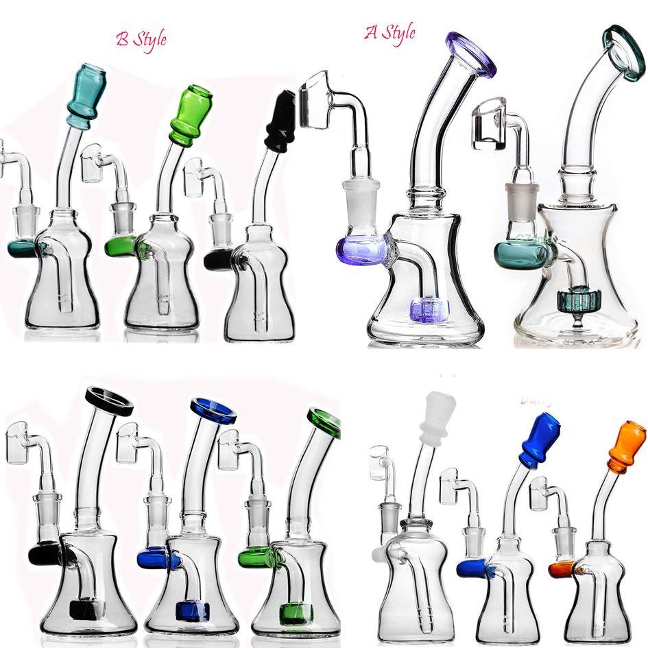 Bécher Bong Mini Pipes eau Rigs huile fumeurs Accessoires verre d'eau Bongs Shisha narguilés Avec 14mm Banger