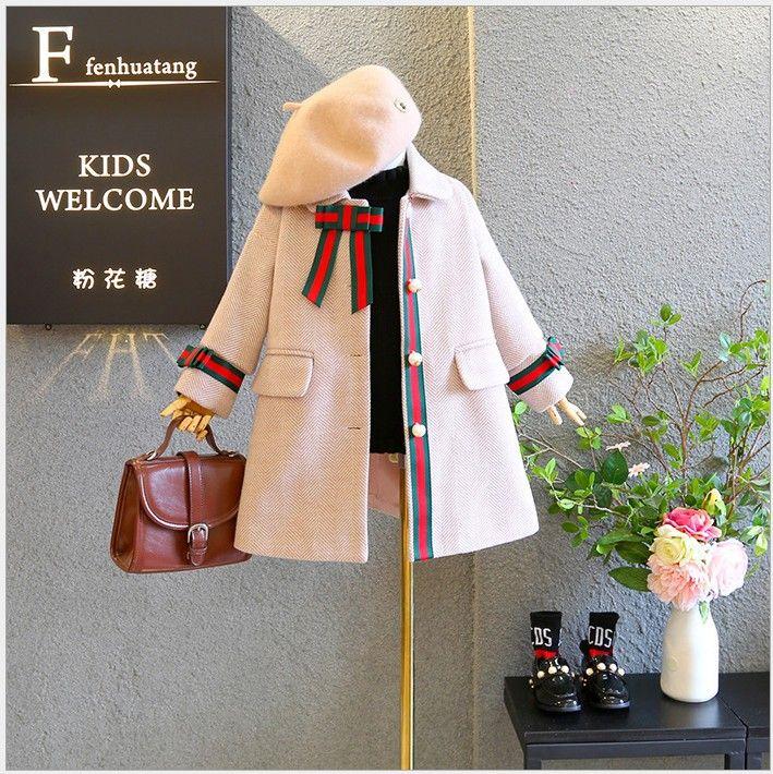 2019 New Arrivals Meninas Trench Coats lã longa Crianças Sobretudo Pérola Meninas Casacos Crianças Outono Inverno roupas de menina casaco de lã