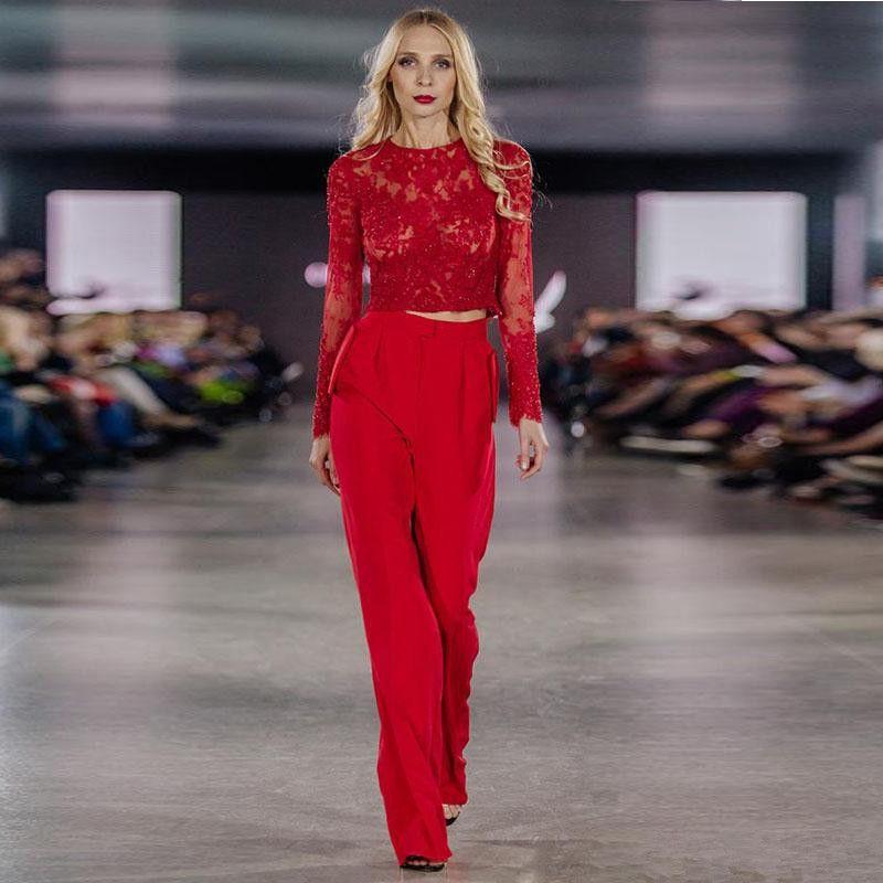 Due pezzi delle tute 2020 Prom abiti di pizzo rosso a maniche lunghe abito da sera indossare abito del partito robe de soiree
