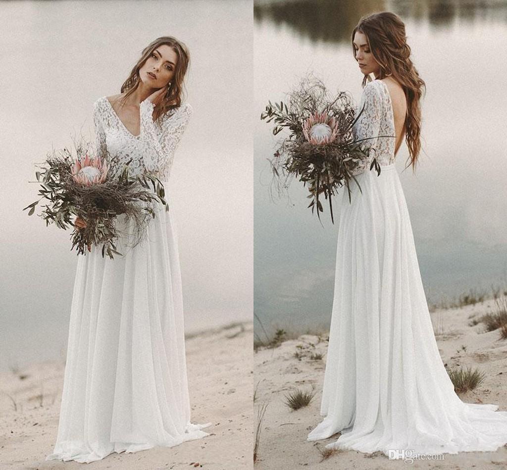 2019 дешевые кружевные богемные свадебные платья с длинными рукавами ELGANT открытый задний пляж страны Boho Bridal платье Vestidos de Novia