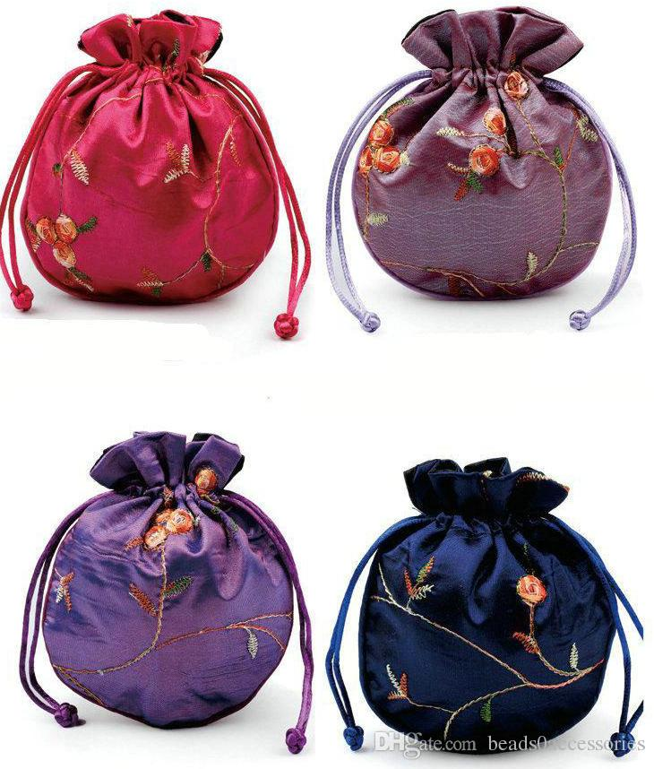 الصينية الرياح عرض مجوهرات الحرير 11x13 سنتيمتر الحرير الديباج مجوهرات الحقيبة حقيبة التخزين شخصية الصينية الرباط هدية التغليف