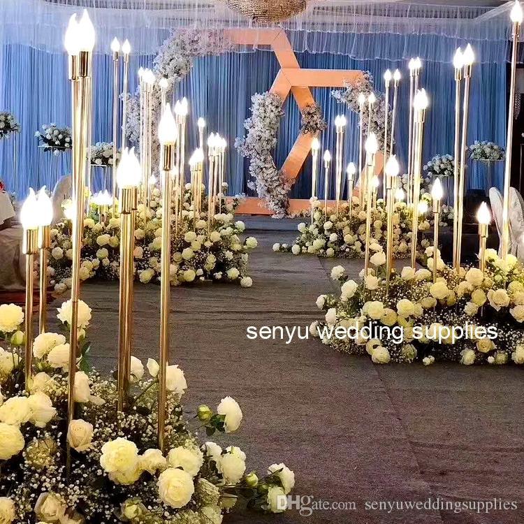 New style Wedding Metal Gold Color lightting Flower Column Stand for Wedding Table Centerpiece Decoration Floral Arrangement Decor senyu0145
