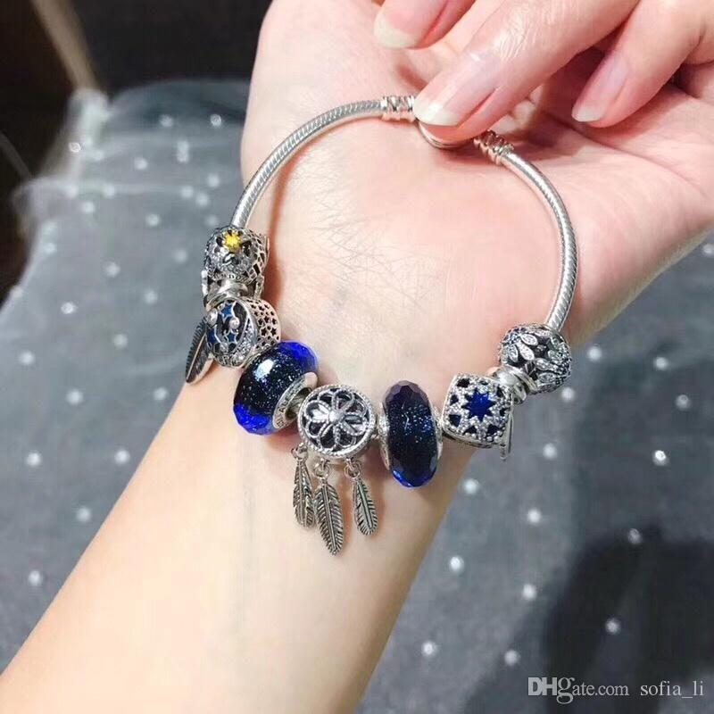 Designer Bracelet Pandora Bracelet Pandora 2019 Luxury Fashion Accessories 925 sterling silver Silver Blue Diamond Beads Metal Leaves
