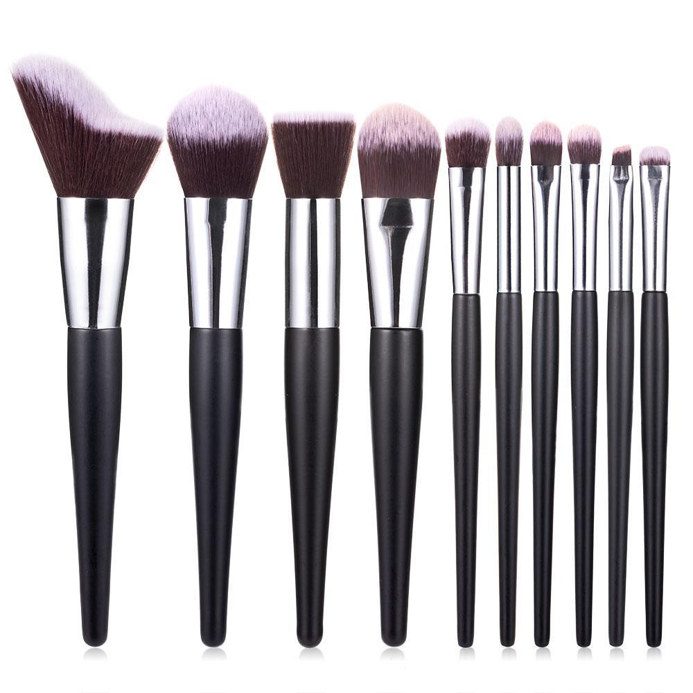 10pcs Pincéis de maquiagem definir Black Wood Handle Compo a escova kit Lip sobrancelha pó Foundation Blush escova face sombra pincel de maquiagem