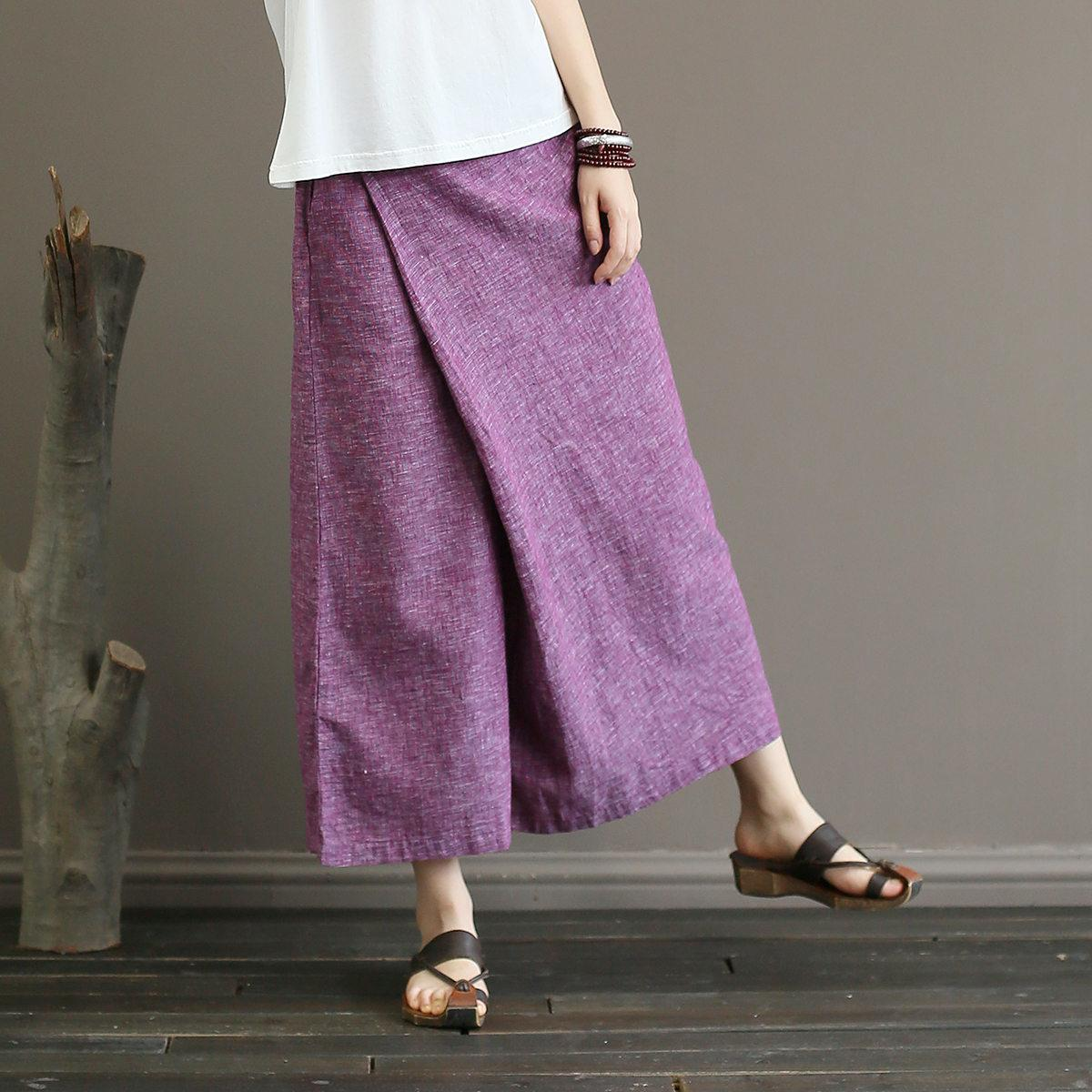 Johnature Solid Color Elastic Mid Waist New Skirt Pants 2019 New Summer Vintage Loose Cotton Linen Ankle-length Wide Leg Pants Y19071601