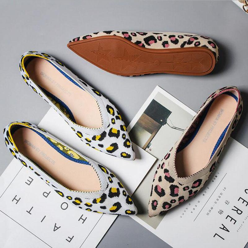 Leopard Pointed Toe Women Flats Shoes