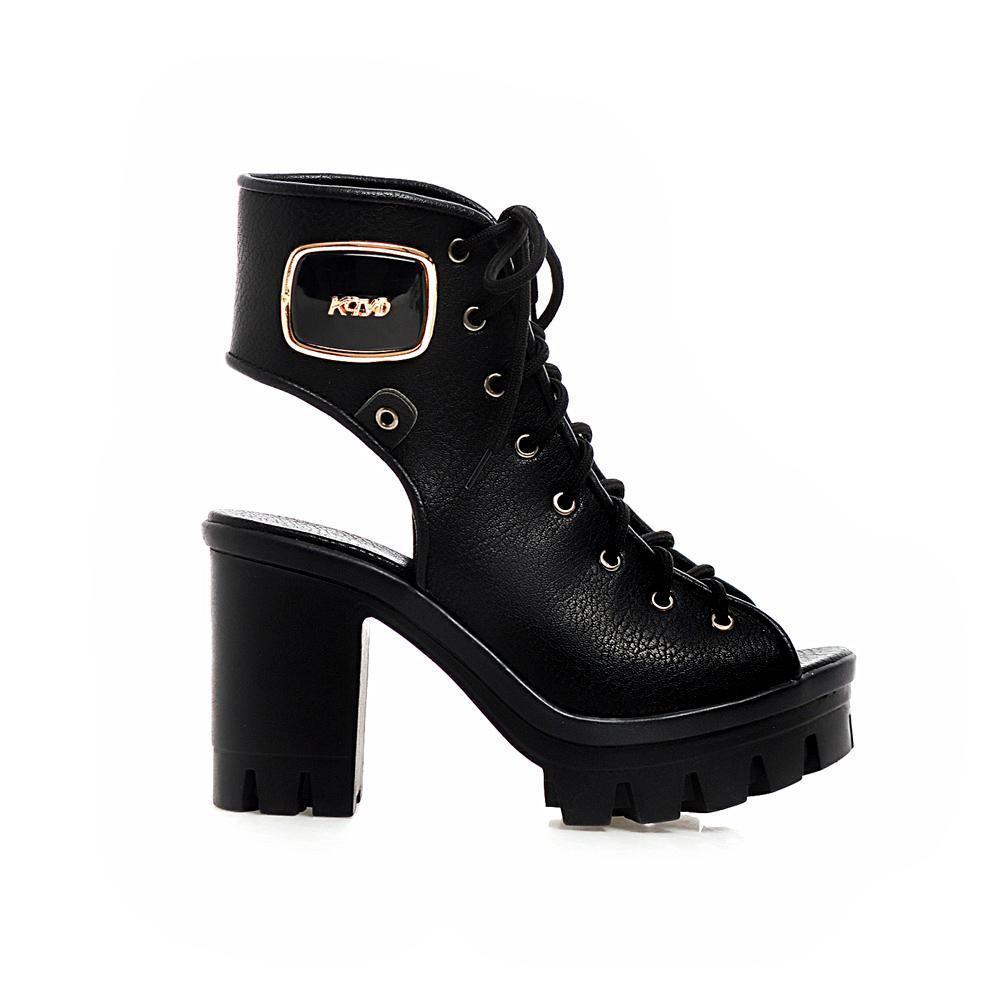 Vendita calda-Ritagli delle donne Scarpe con lacci Piattaforma Sandalo Scarpe Donna 2016 New Fashion SlingBacks Sandali tacco alto Scarpe estive Donna
