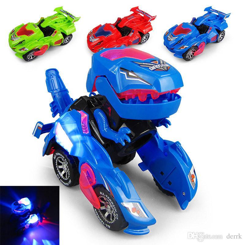 Kinderspielzeug Kreative Mini Dinosaurier Morphen Auto Elektrische Spielzeug mit Licht Musik Dinosaurier Verformung Automodell Kinder Spielzeug