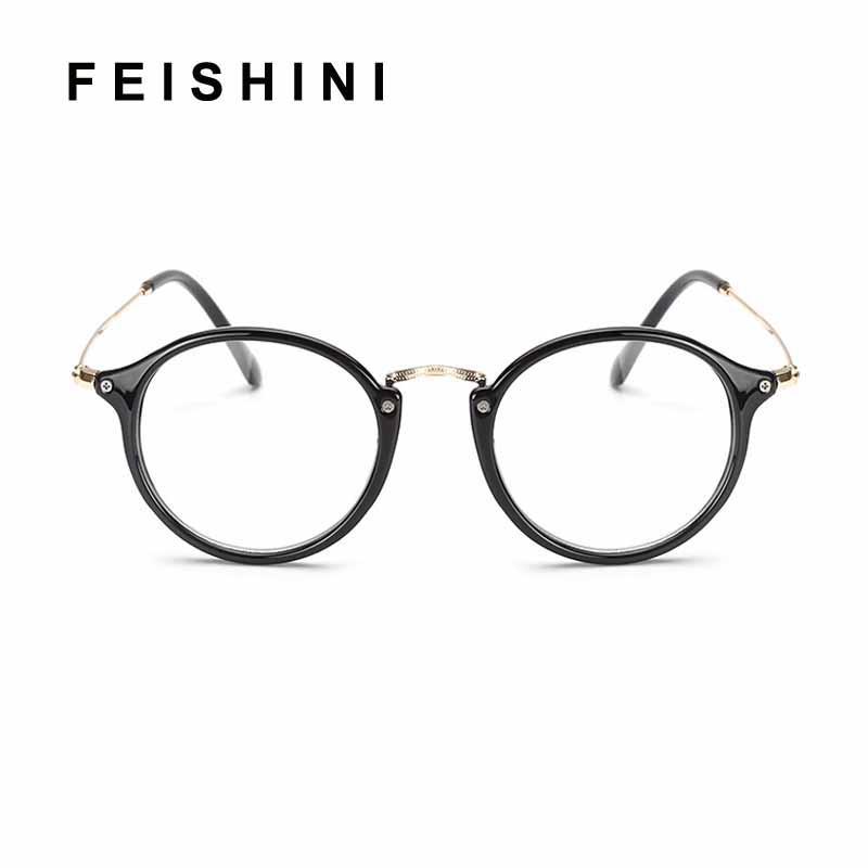 All'ingrosso-Feishini 2019 miopia degli occhiali Uomini rotonda Clear Vision Optical telaio Donne Vintage prescrizione Trasparente 2447