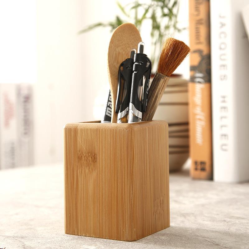 단단한 나무 문구 펜 홀더 창조적 인 사무 용품 펜 케이스 사각형 나무 바탕 화면 저장 펜 홀더 WJ030926