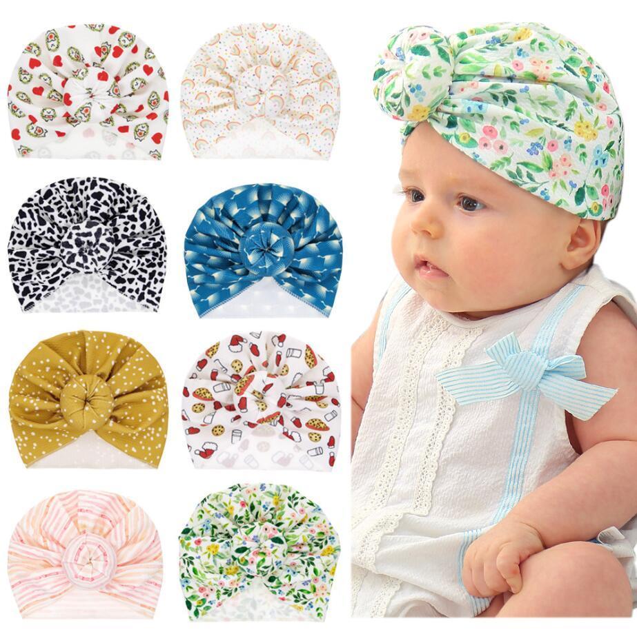 INS Newborn Baby hat Polka Dots Stripped Flower Print Ear Muff Hat kids Hair accessories fashion kids Hat&Cap