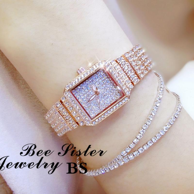 Moda bayanlar Kristal İzle Kadınlar Rhinestone Saat Lady Diamond Stone Elbise İzle Paslanmaz Çelik Bilezik Kol