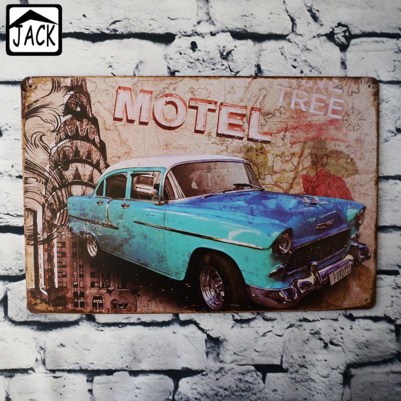 블루 빈티지 자동차 금속 주석 페인팅 클럽 바 펍 갤러리 차고 벽 장식 빈티지 Plaques 20 * 30 CM Tin Signs
