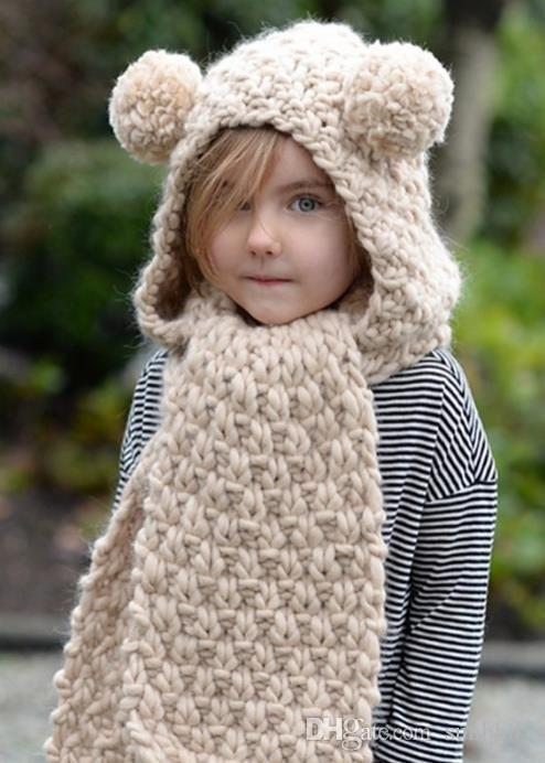 Autumn Winter Baby Kids Cartoon One-piece Knitted Cap Neck Warmer Scarf Girls Boys Children Crochet Hat Warm Scarf M143