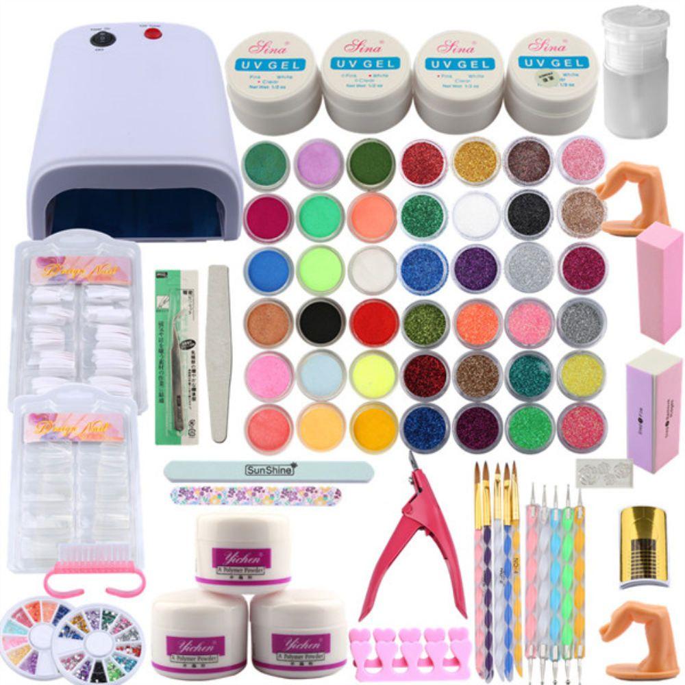 Kit de ongles Manucure Outils de pédicure Set 36W UV Lampe Nail Set UV Gel Tools d'art d'art acrylique