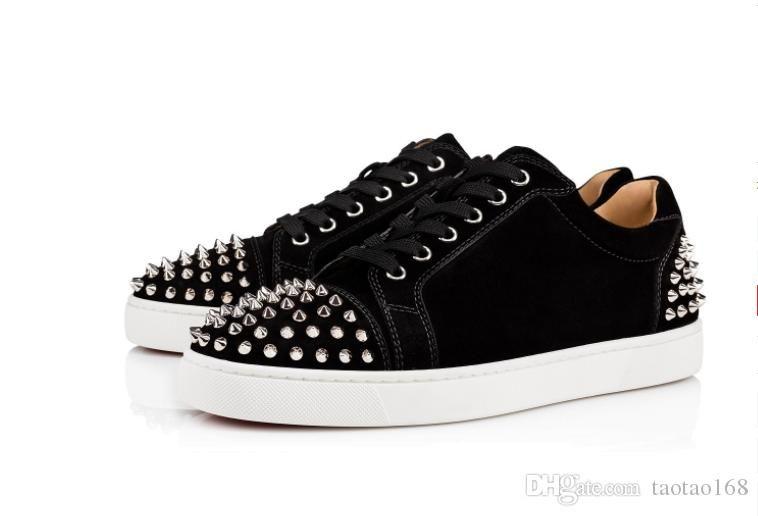 Sneakers inferiores encarnados calçados casuais das mulheres dos homens Low prata Designer completa Spikes rolo barco sapato Flats Skate Loafers Design Mulher do homem