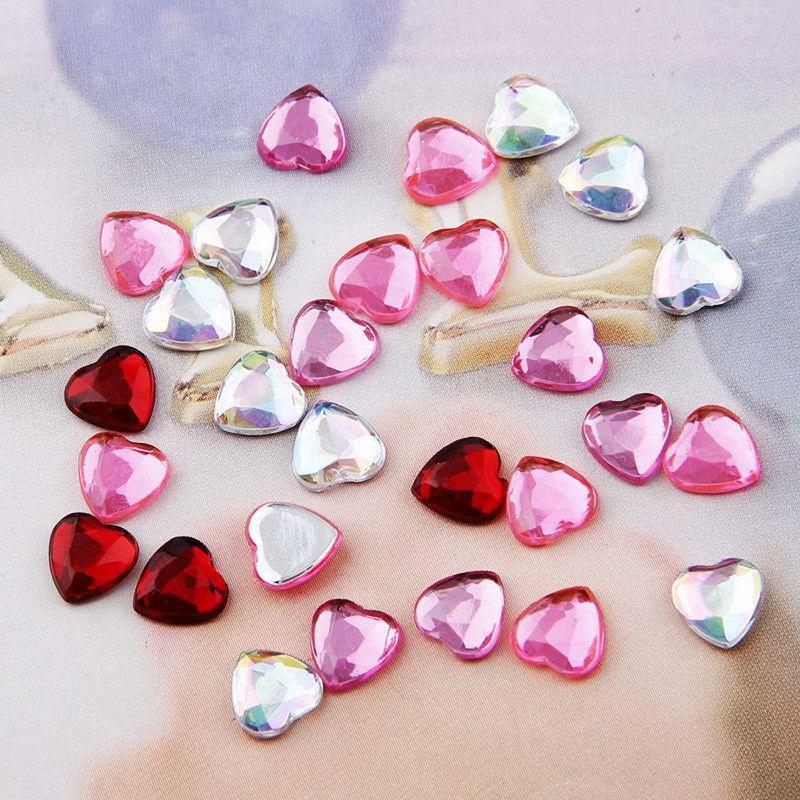 About 100 Pcs 6mm Mix Color Cute Heart Acrylic Flatback Rhinestone Diy Nail Art/phone Decoration Diy Accessories
