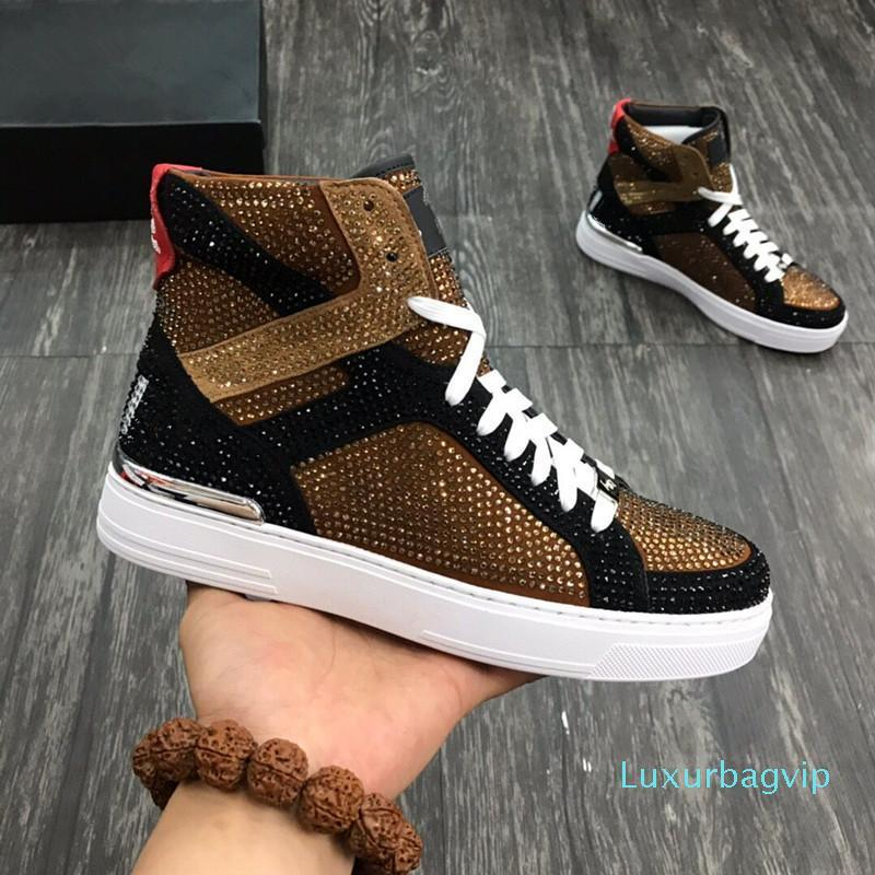 New Good Quality High Top Man Arena Shoes Flat Luxury New Designer Casual Shoes Hip Hop Male hy18072003