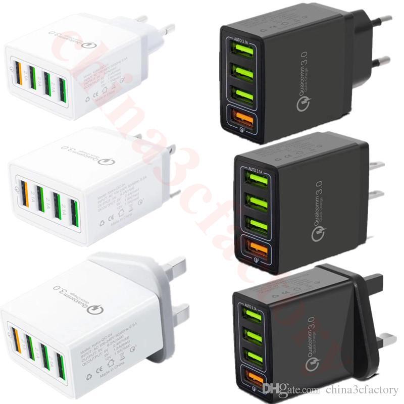 QC3.0 быстрое зарядное устройство 4 порта Usb зарядное устройство ЕС США Великобритания Ac главная путешествия зарядное устройство 3.1 A адаптер питания для iphone samsung
