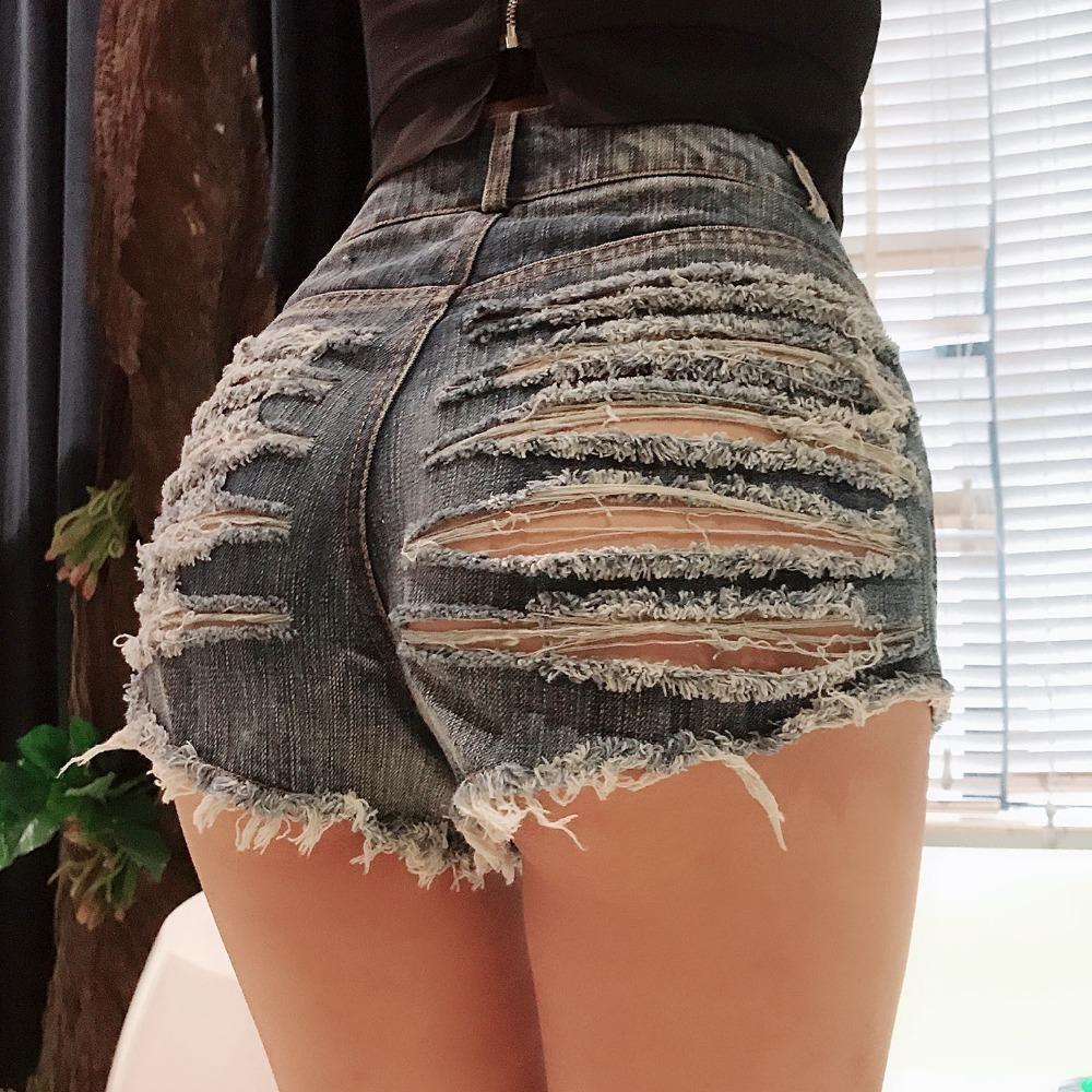 Sexy Ripped Hole Booty Shorts Frauen Hohe Taille Fringe Jean Shorts Sommer Mädchen Nette Shorts Nachtclub Party Hotpants Y19050905
