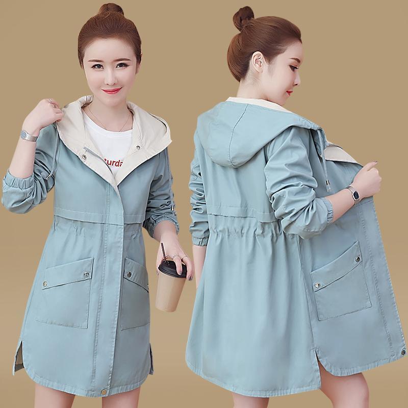Nouveaux imper printemps automne vêtements minces manteaux coupe-vent femme trench-coat étudiant femmes de grande taille à capuchon manteaux pour femmes LY191210