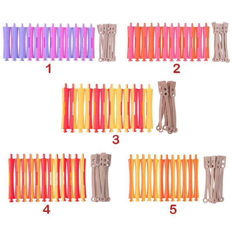 DIY Perm Rod Salon Hair Roller Rubber Band Hair Clip Curling Curler Hairdressing Maker Styling DIY Hair Tool Random Color 12Pcs/Set
