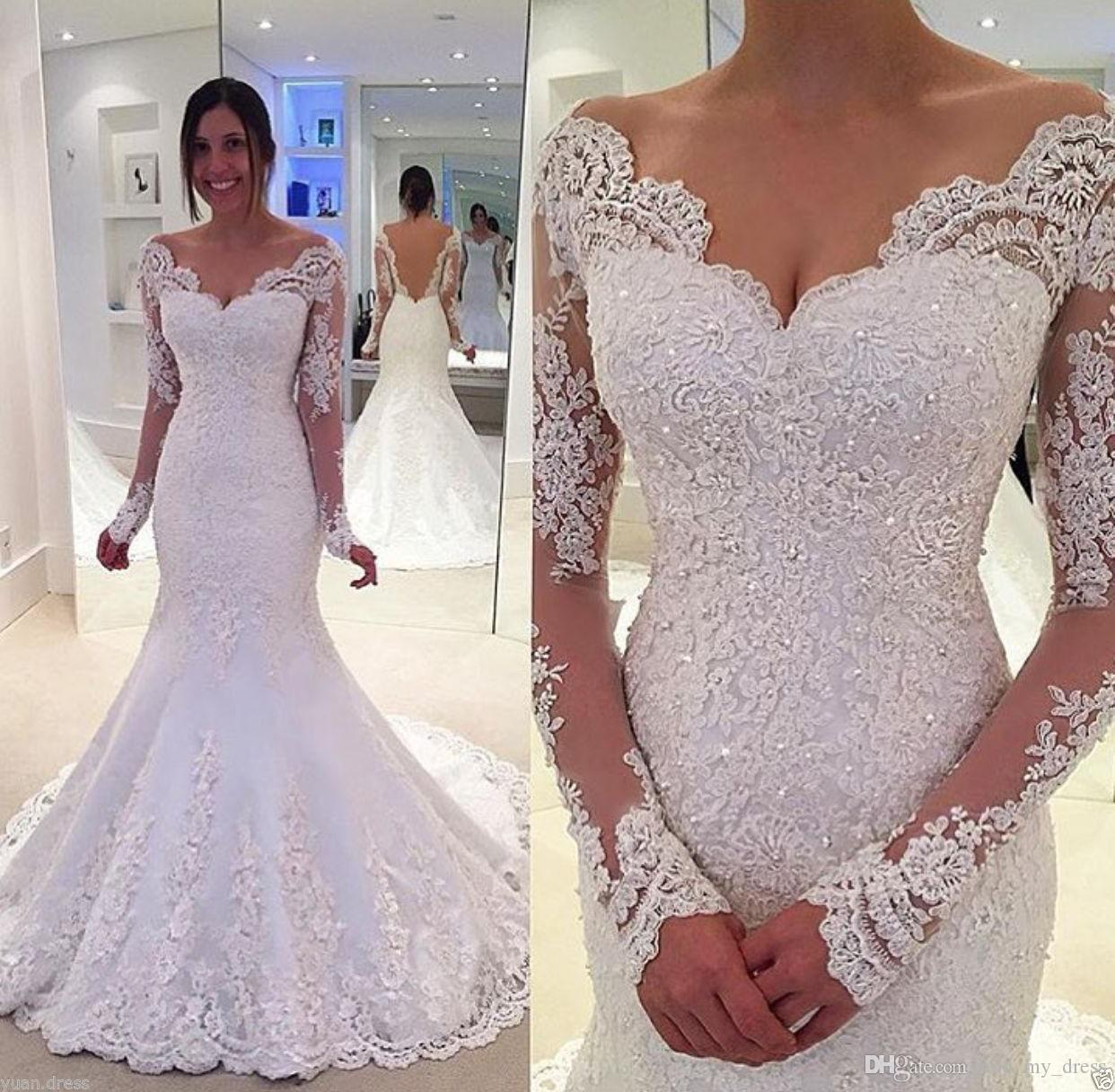 2019 Gorgeous Backless Off Shoulder See Through Crystal Princess Beading Lace Trumpet Bridal Gown Long Sleeve Party Wedding Dress Appliques