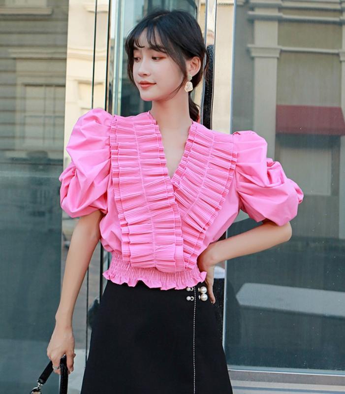 Взлетно-посадочная полоса каскадные оборки V-образным вырезом слоеного рукав Женщины блузка и рубашка 2020 лето сладкий Лоскутная эластичный пояс пуловер Crop Top