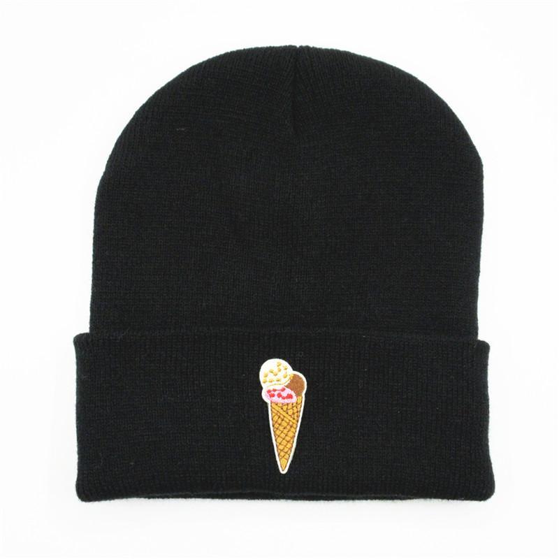 Шапочки ldslyjr мороженое вышивка утолщение вязаная шапка зима теплые чепухи шансы для мужчин и женщин 110