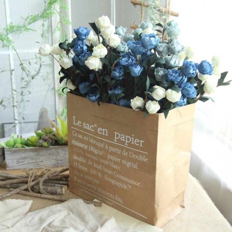 6 Heads / Bouquet Rose Decor Artificial Flower Home Decor Imitation Fake Flower for Garden Plant Desk Decor Hand-Holding Flower