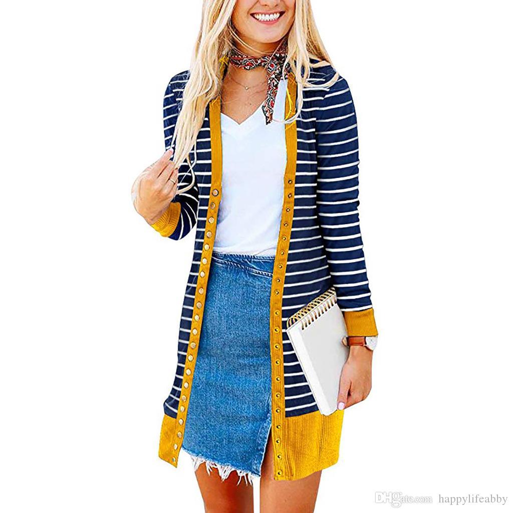 manches longues tricot hiver automne bande cardigan avant Botton col V gilet en tricot mode casual chemises chaudes