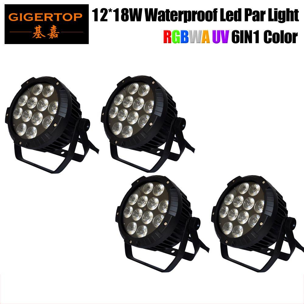 알루미늄 TP-P52B 주조 4 팩 12x18W RGBWA UV LED DJ PAR 라이트 IP65 DMX 방수 PAR 64 무대 조명의 LCD 디스플레이을 Freeshipping