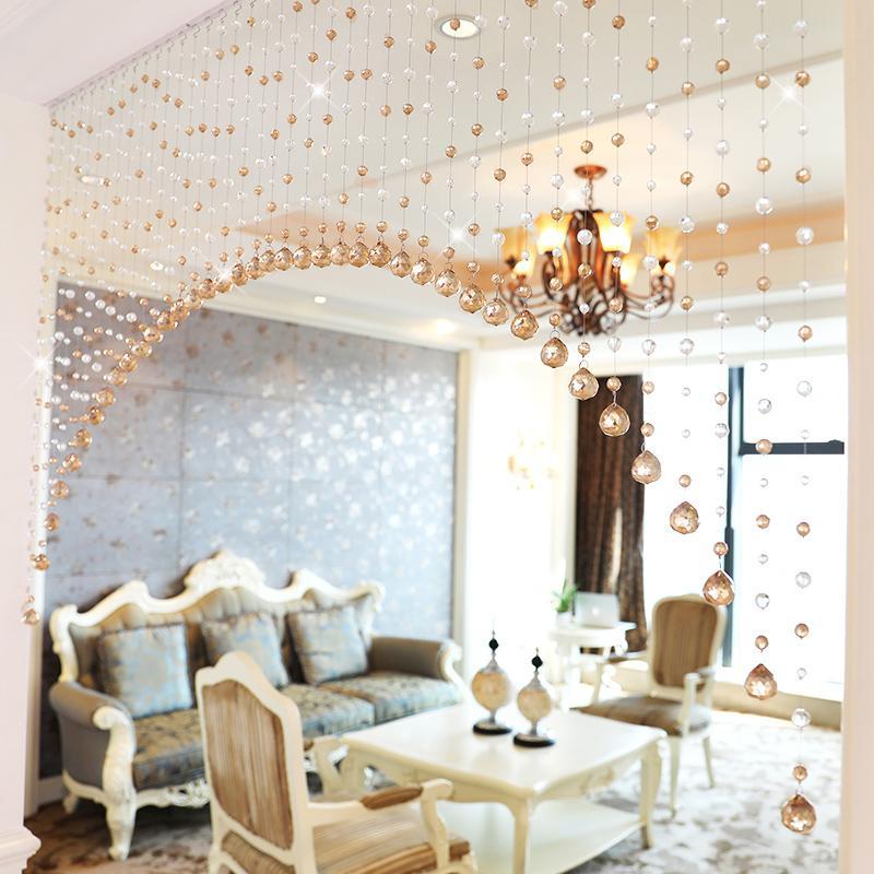 Persianas cortinas de lujo del grano cristalino Cortinas puerta de la sala Dormitorio Decoración de pared de cristal para la boda Decoración para el Hogar