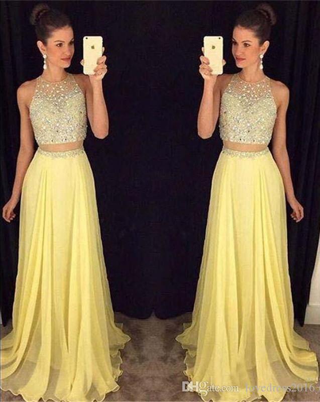 Dos piezas de gasa de color amarillo claro vestidos de fiesta una línea de cuello redondo con cuentas lentejuelas sin mangas vestido de fiesta de la dama de honor