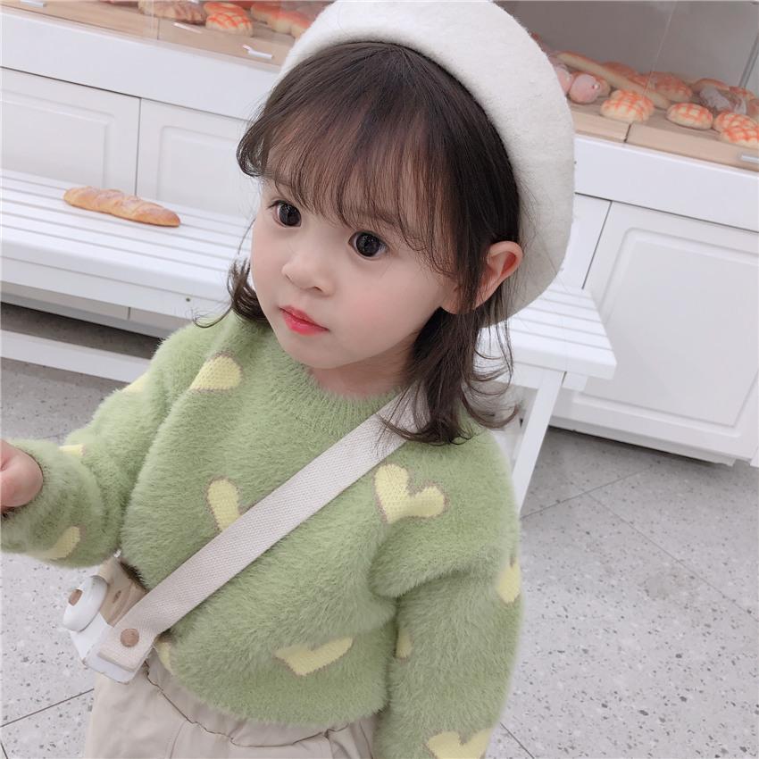 Medio-piccola Childrenswear 2020 Autunno Inverno-stile coreano di nuovo stile Ragazze Baby Heart Mink-come Abbigliamento per bambini con cappuccio ingegno
