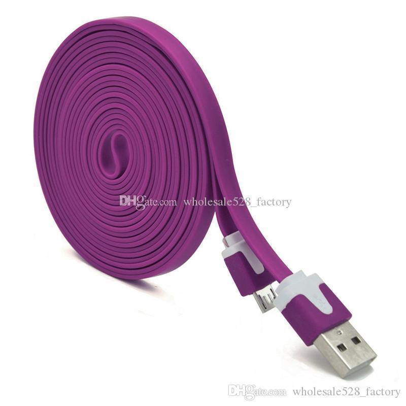 1M 2M 3M colorido del USB Micro fideos plana por cable USB Micro fideos de colores de cable cable del cargador para el teléfono inteligente