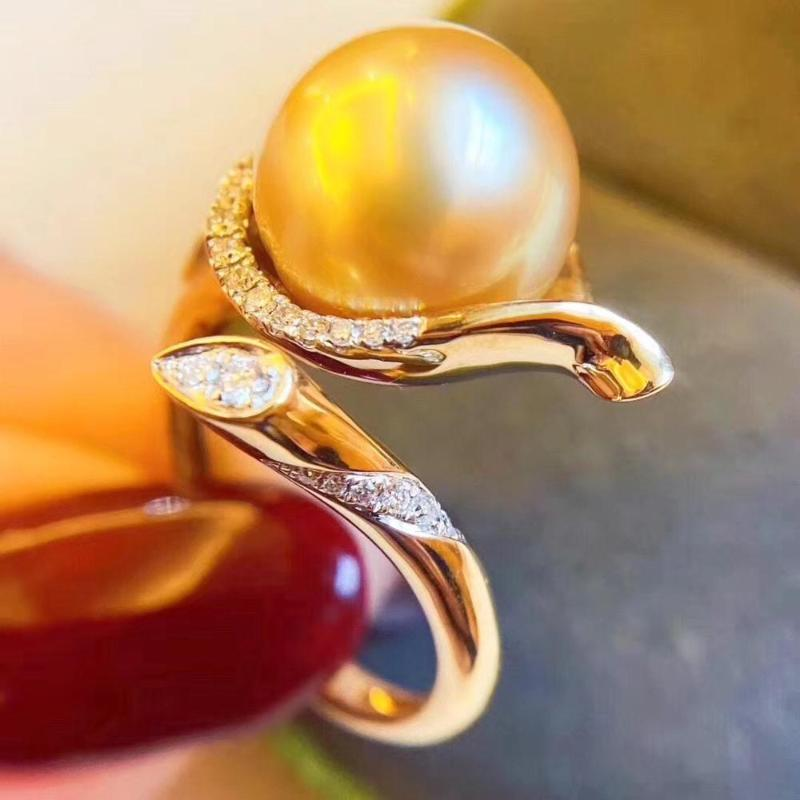 D511 Pearl Ring Fine Jewelry 925 Sterling Silver Round 12-13mm Nature Fresh Water Golden Pearls Rings for Women Presents