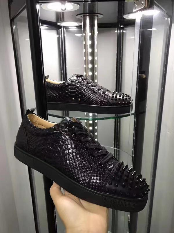 Black Python Genuine Leather Sneaker Shoes Men Red Bottom Spiked Flat Shoes,Luxury Low Sneaker Junior Young Men Fashion Trainers