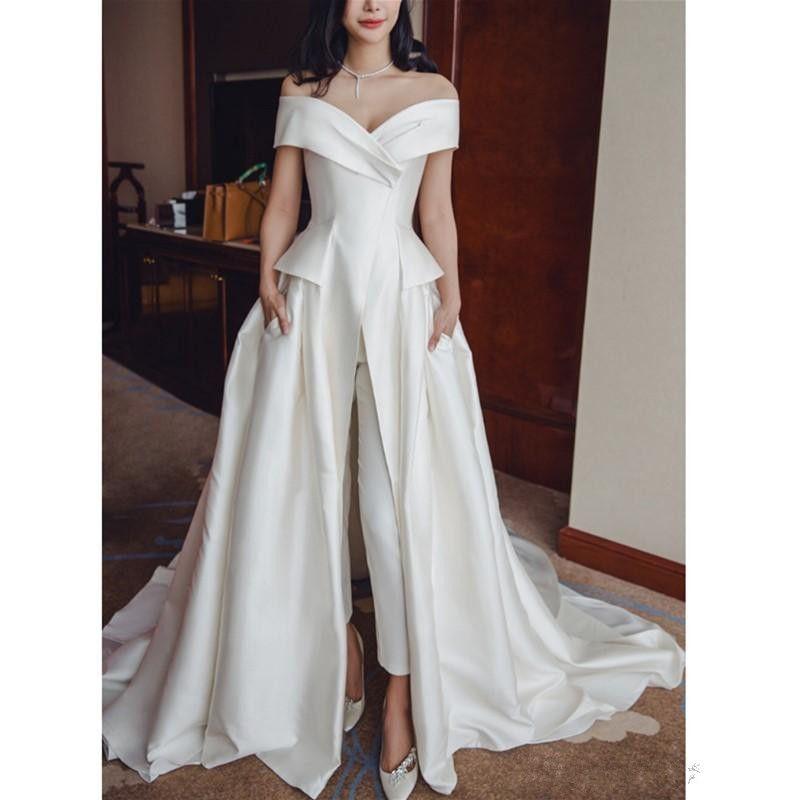 2019 Elegant Ivory Satin long Jumpsuit Evening Dresses Off Shoulder Prom Dresses With Pockets Custom Sweep Train V Neck Women Formal Gowns