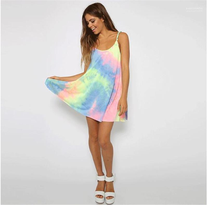 لون الملابس أزياء الصيف الصلبة أنثى النساء اللباس الرقبة سكوب أكمام فساتين مصمم السيدات عارضة عطلات التصادم