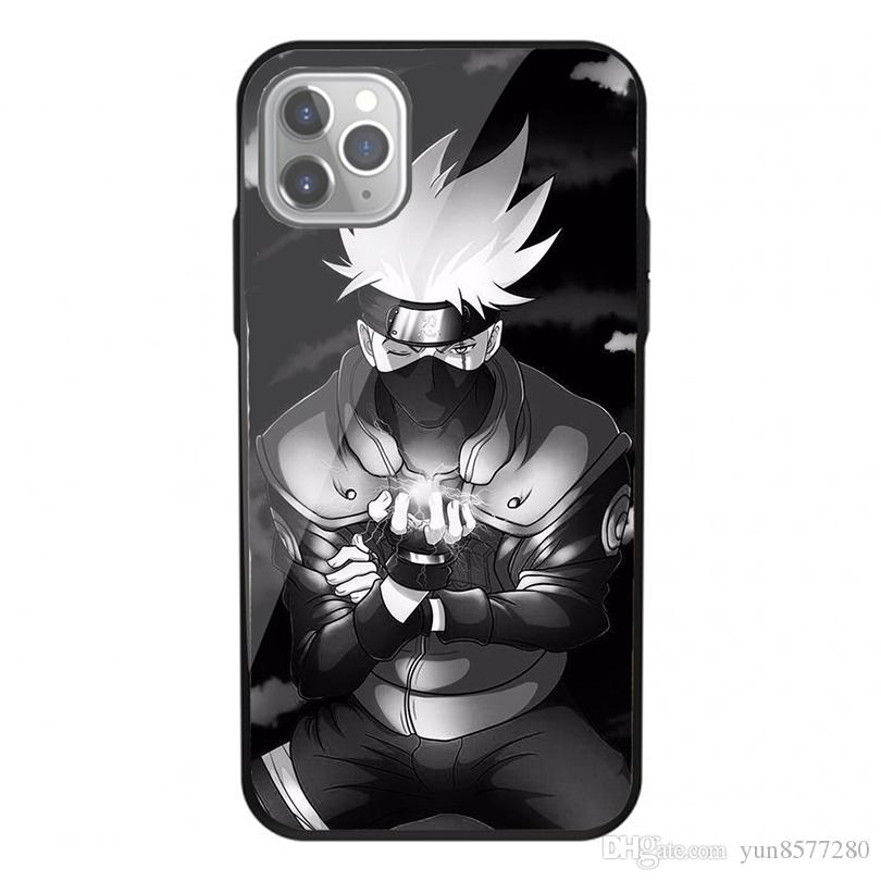 Glas Fall Weicher Stoß harter Funda Fall für iPhone temperiert 11 Pro XS Max 7 8 Plus 6 6S Plus-5S 5 Back Cover drucken Naruto Kakashi Telefon-Kasten
