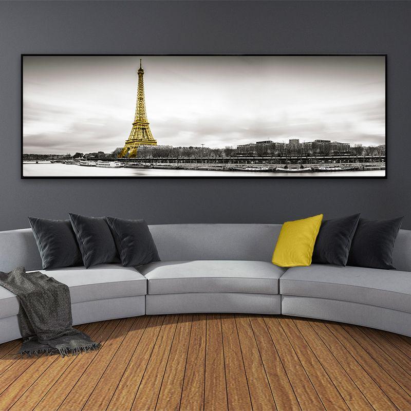 거실 홈 인테리어에 대한 풍경 에펠 탑 파리 장면 수평 캔버스 회화 북유럽 포스터 인쇄 벽 예술 사진