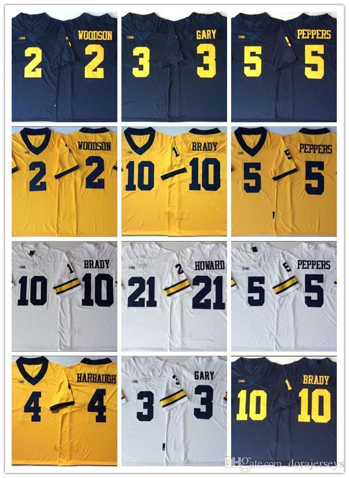 Erkek Üniversite Michigan Wolverines Rashan Gary 21 Desmond Howard 10 Tom Brady 4 Jim Harbaugh Charles Woodson Jabrill Biber Futbol Forması