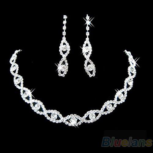 Bluelans Sumptuous Bridal Wedding Prom Jewelry Crystal Rhinestone Diamante Necklace & Earring Set