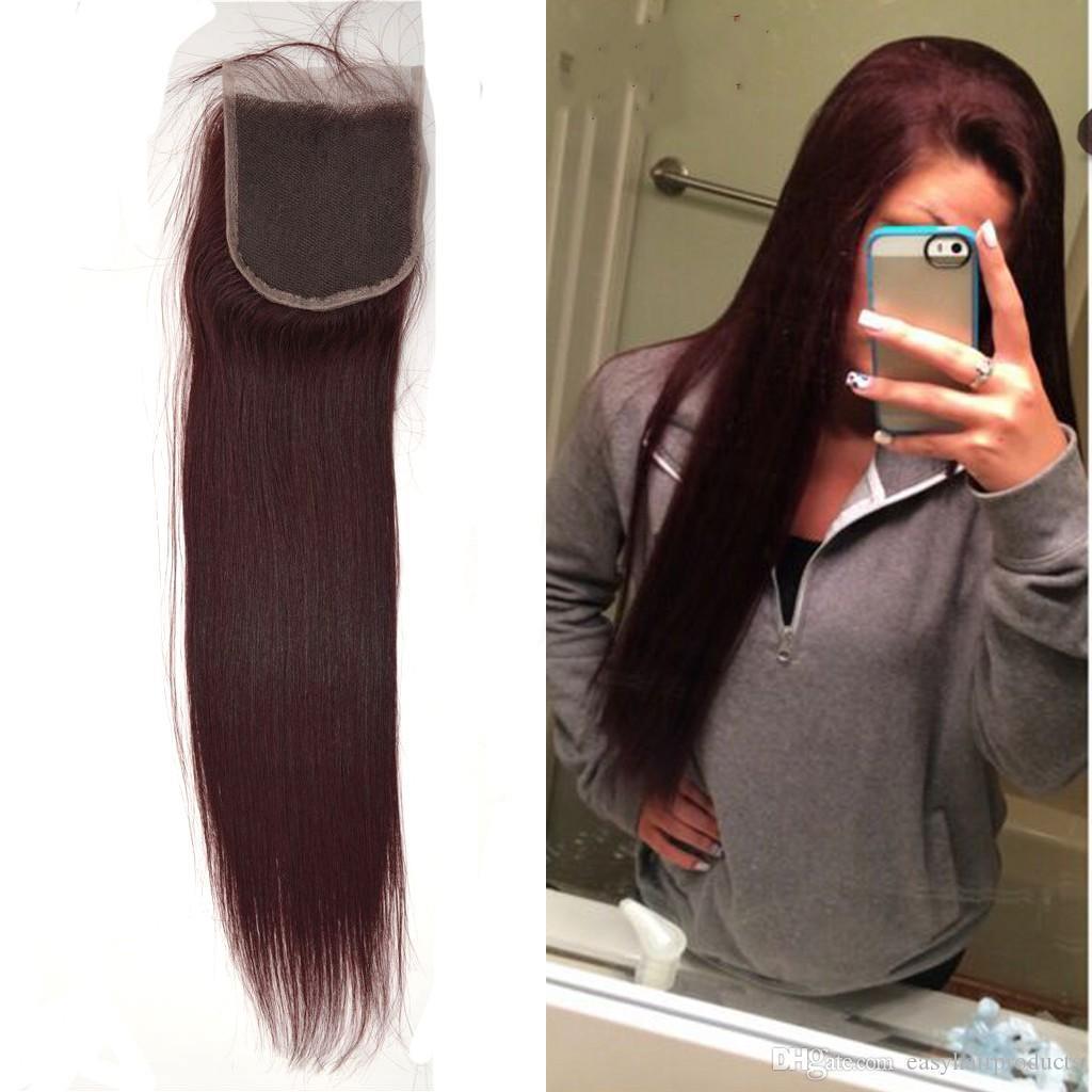 """% 100 99j Dantel Kapatma Hint İnsan Saç Düz Saç Dokuma Top 4 """"* 4"""" İsviçre Dantel% 100 Bakire Saç G-KOLAY Ücretsiz Kargo kırmızı"""
