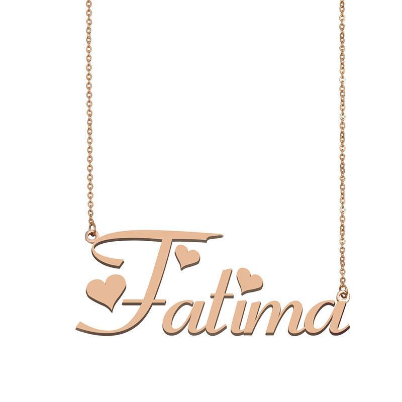 Fatima Namenshalsketten-Anhänger für Frauen-Mädchen-Geburtstags-Geschenk Individuellen Typschild Kinder Best Friends Schmucksachen 18k Gold überzogener Edelstahl