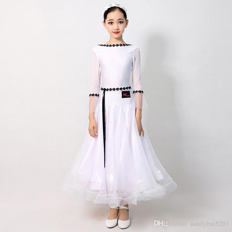 Brancos vestidos de salão padrão para Crianças Ballroom dança do vestido meninas Waltz Vestido Fringe do desgaste da dança espanhola Vestidos Espanha Crianças Roupa S531