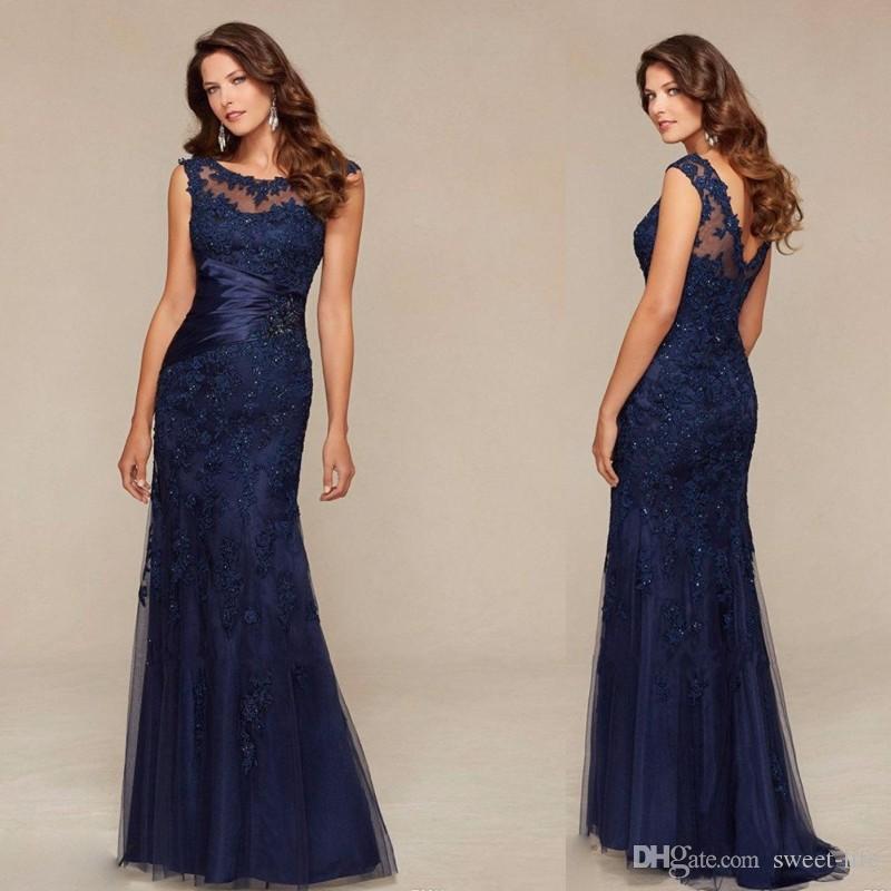 2020 Mermaid girocollo elegante Prom Dresses Navy Blue pizzo sirena lunga del vestito da sera Madri abito del partito