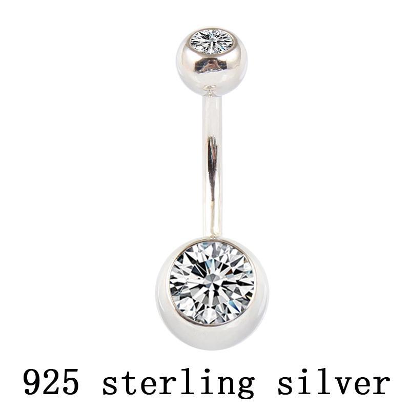 Real 925 prata barriga anel botão da barra de umbigo clara dublê de corpo jóias zircão bola piercing jóias CJ191116 frete grátis